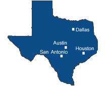 Map of cities we cater valet to. Austin, DFW, Houston, San Antonio.